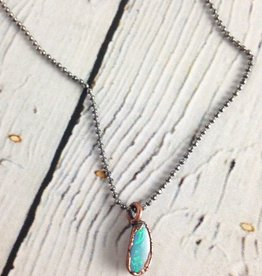 "Polished Opal electroformed Pendant on 18"" Sterling Silver Chain"