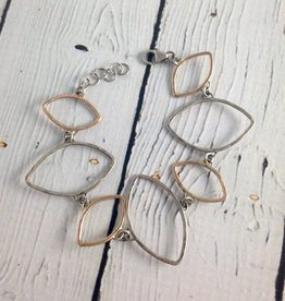 Hammered Sterling and 14kt Gold Fill Open Leaf Shape Bracelet