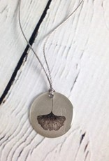"Sterling Litho ""Ginkgo"" Necklace"