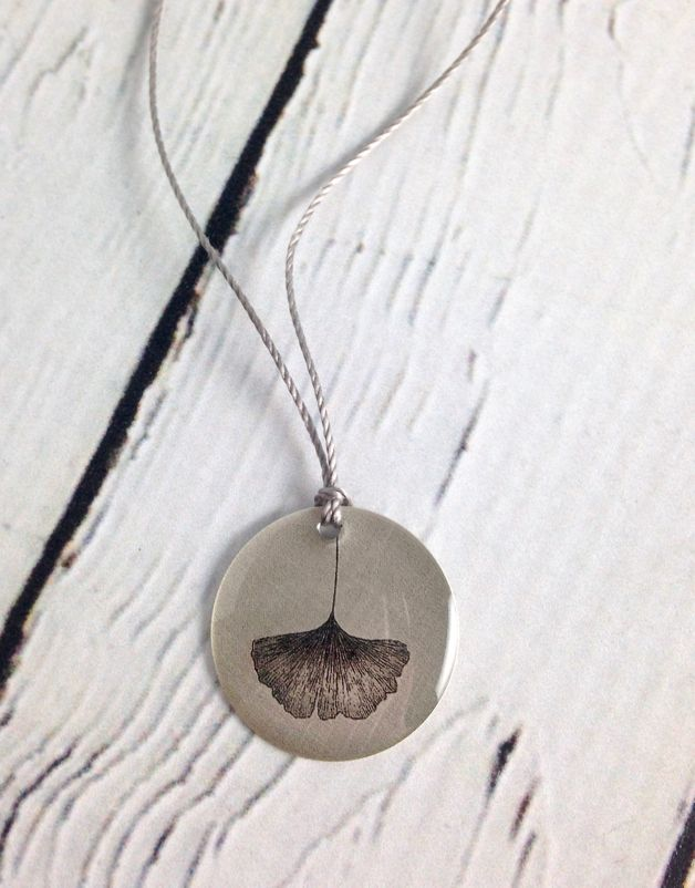 Sterling Litho Ginkgo Leaf Necklace