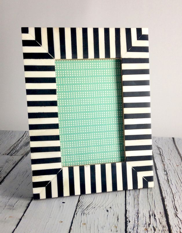 Large Black White Striped Frame Silver In The City