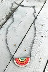 Handmade Painted Birch Sunrise Necklace on Sterling Silver Chain