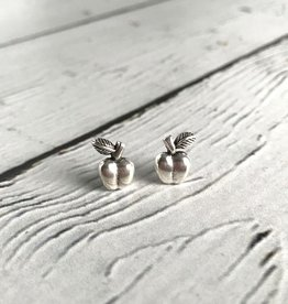 Sterling Silver Oxidized Apple stud Earrings