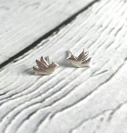 Sterling Silver Flying Bird Stud Earrings