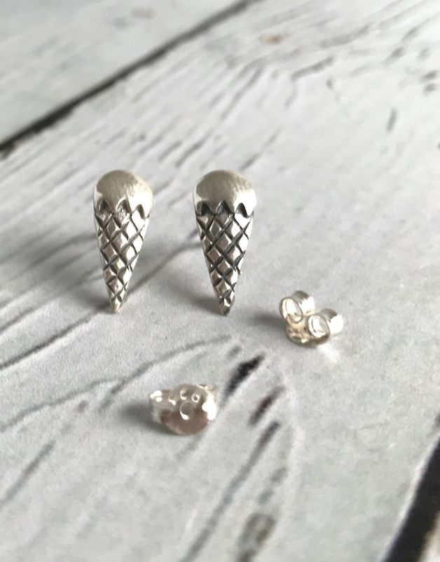 Sterling Silver Ice Cream Cone Stud Earrings