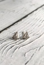 Sterling Silver Sailboat Stud Earrings