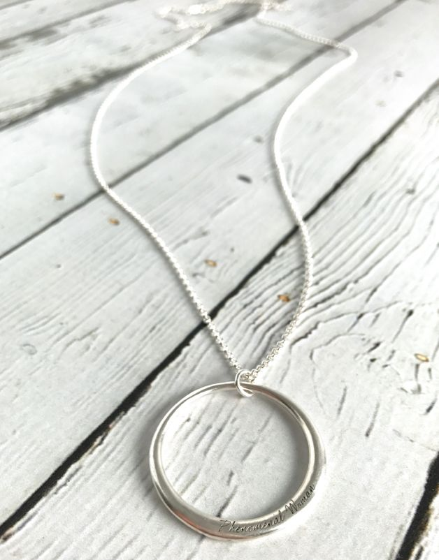Handmade Sterling Silver Phenomenal Woman Large open Circle Necklace (Maya Angelou series)