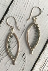 Handmade Bright Silver Bay Leaf Earrings with Moss Aquamarine wrap
