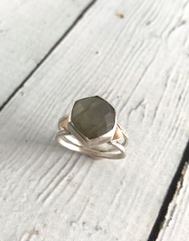 Handmade Hexagonal Labradorite Stone Ring w/ 14k Gold Triangle Accents, Size 8