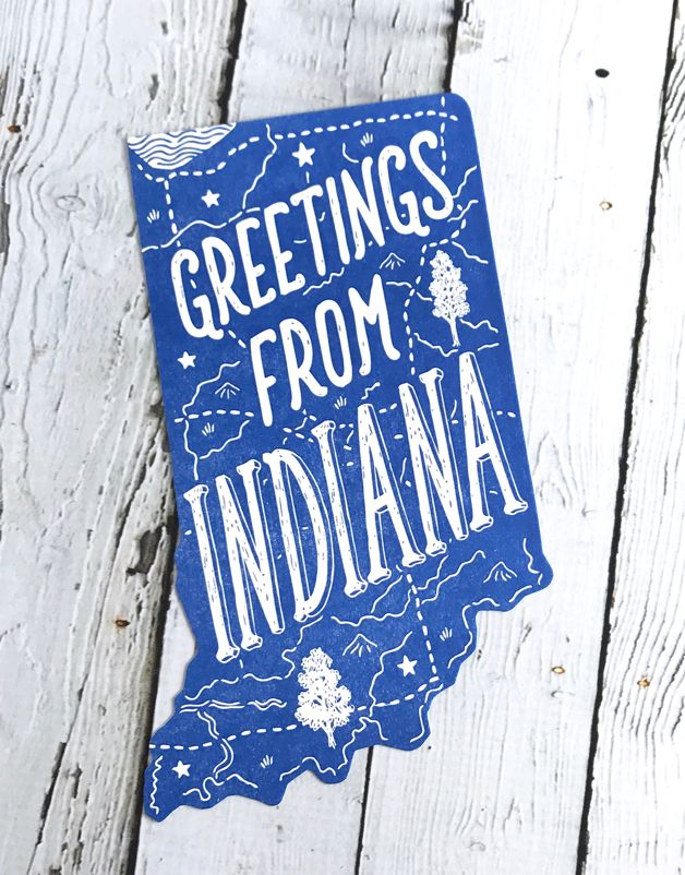 Greetings From Indiana Die Cut Postcard