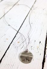 "Sterling Silver Litho ""Bike Path"" Necklace"