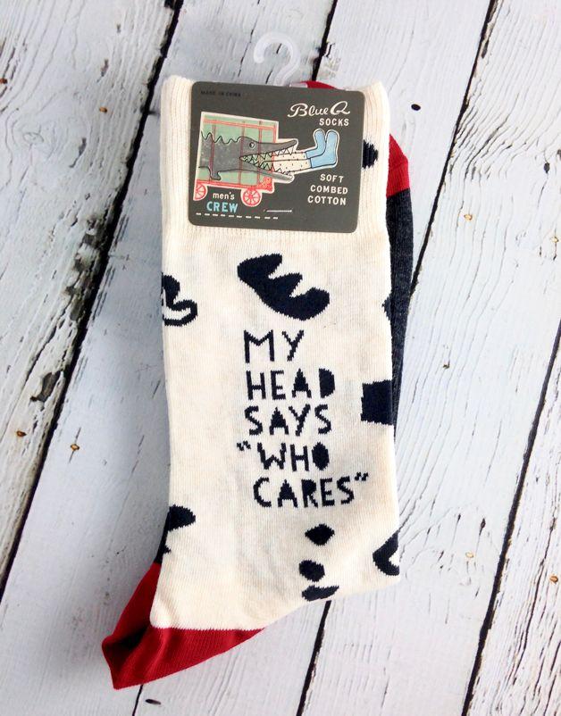 My Head Says Who Cares Men's Crew Socks