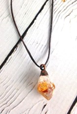 Raw Citrine on adjustable leather necklace