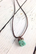 Raw Turquoise Nugget on adjustable leather necklace