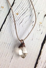 Tibetan Quartz Crystal on adjustable leather necklace