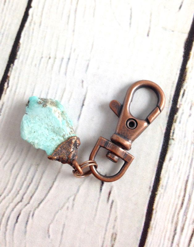 Raw Turquoise and Copper Keyring by Hawkhouse