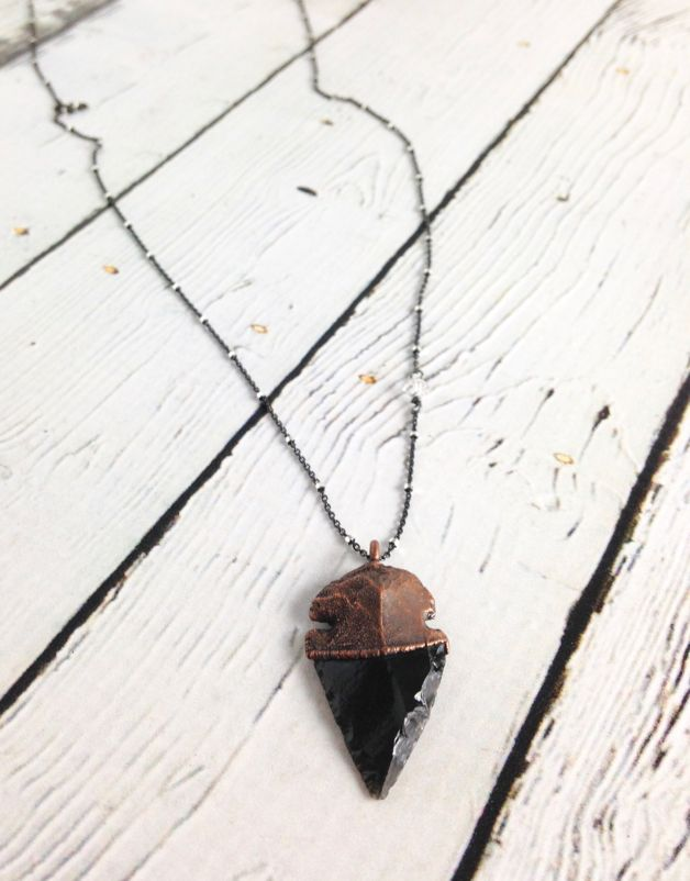 "Raw Obsidian Dragonglass Arrowhead on 24"" Sterling Silver Satellite Chain (good for killing white walkers)"