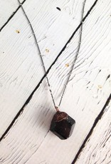 "Raw Tourmaline Chunk on 24"" Sterling Silver Satellite Chain - October Birthstone"