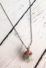 "Aquamarine Chunk 24"" Satellite Sterling Necklace"