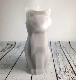 Grey + Aluminium Kisa Cat Pyro Pet Candle