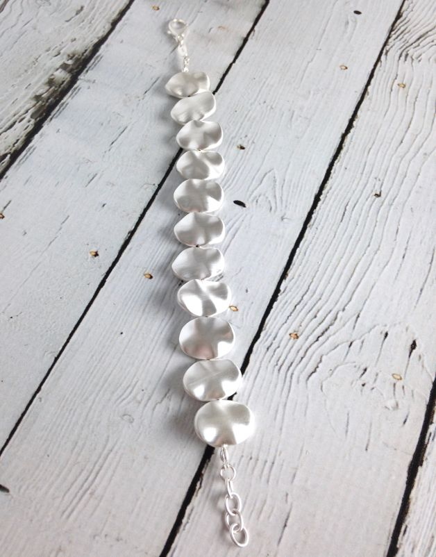 Sterling Silver Matte Pure Silver Moon Bracelet