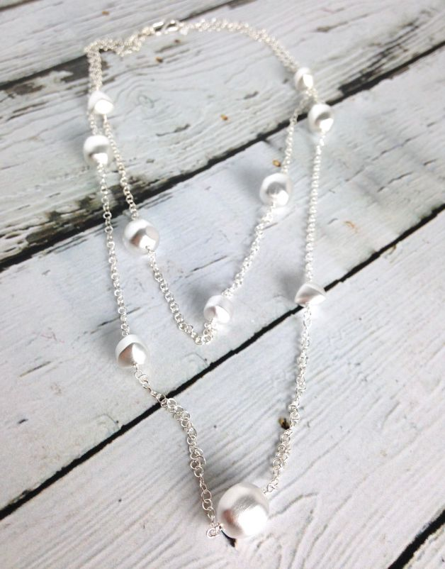 Sterling Silver Matte Finish Pure Layered Pebble Necklace