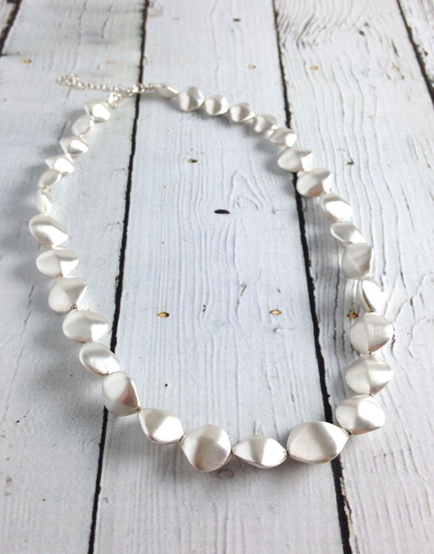 Sterling Silver Pure Collection Matte Twisted Pebble Necklace