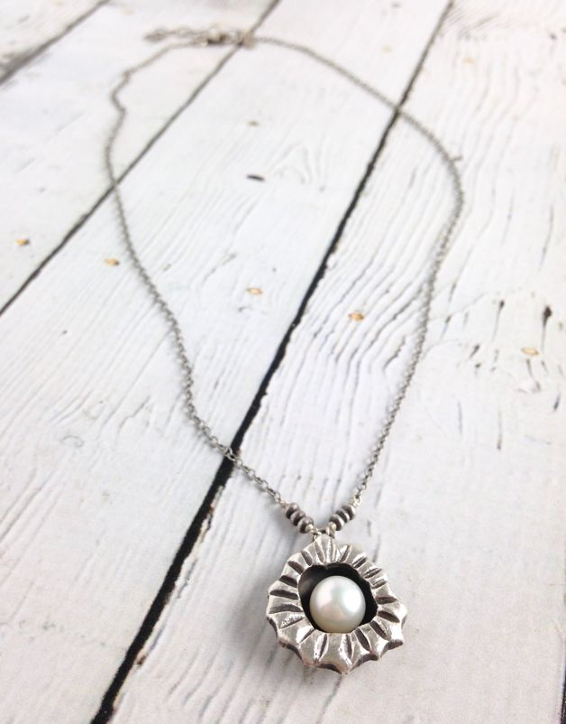Sterling encased white freshwater pearl on chain necklace