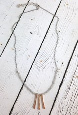 Three Hammered 14kt Gold Fill Bar with Faceted Labradorite Necklace