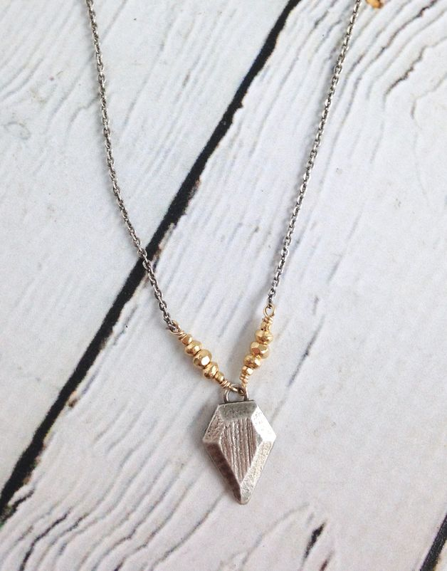 Hand Carved Sterling Silver Geometric Pendant on Vermeil and Oxidized Sterling Chain Necklace