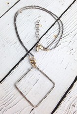 Hammered Sterling Diamond on Gold vermeil and oxidized sterling chain necklace