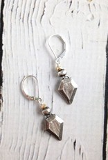 Handcarved Sterling Silver Geometry Earrings with Vermeil Accent