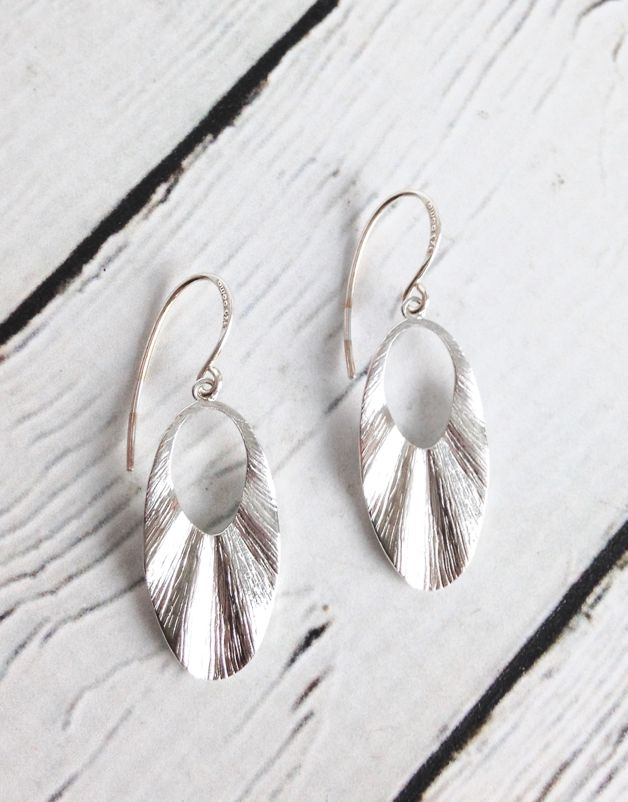 Sterling Silver Textured Dangle Earrings