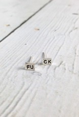 Recycled Sterling Silver FU CK Stud Earrings by Indiana maker No Kitchen Sink
