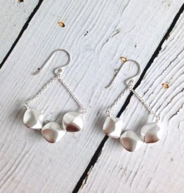 Matte Sterling Silver Twisted Pebble Chandelier Earrings