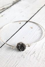 Glimmer Bangle Bracelet with Black Druzy