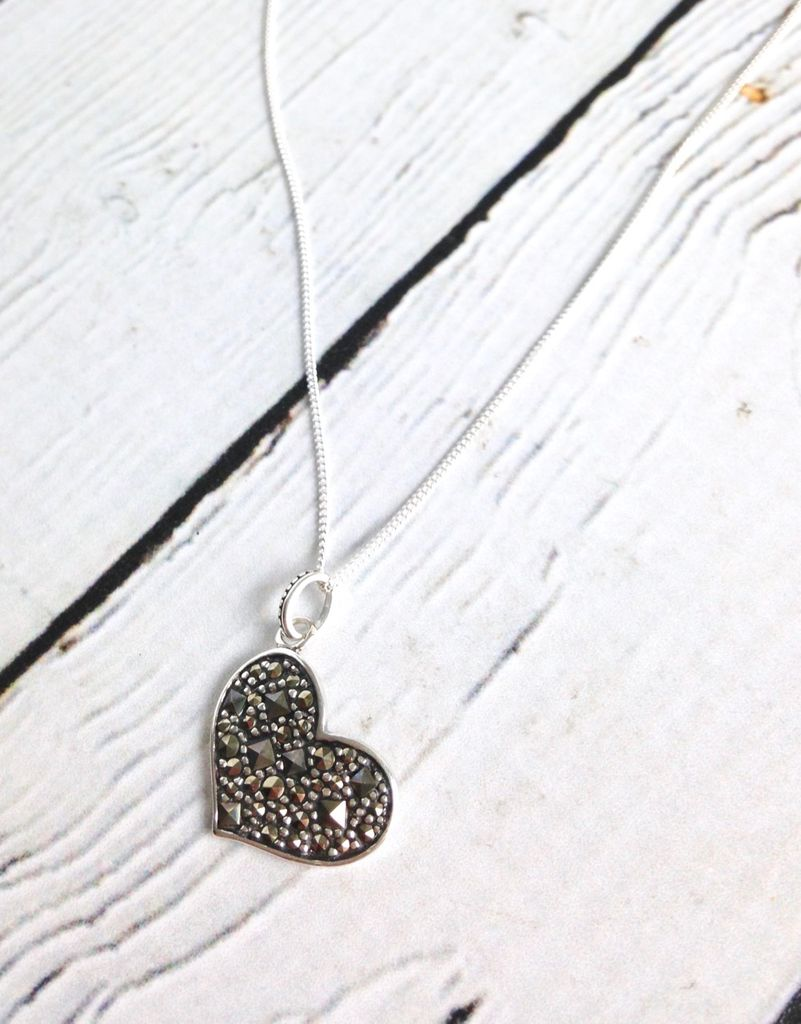 Sterling Silver and Marcasite Heart Necklace