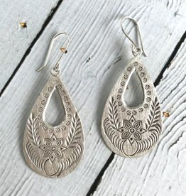 Hill Tribe Silver Large Stamped Teardrop Earrings