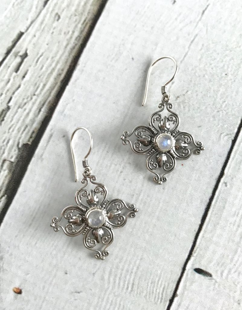 Sterling Silver Stylized Flower Earrings with Round Moonstone Center - Silver in the City