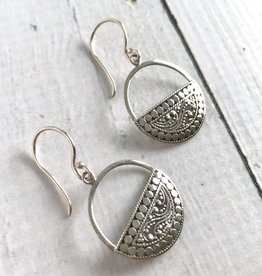Silver Round Bottom Half Design Earrings