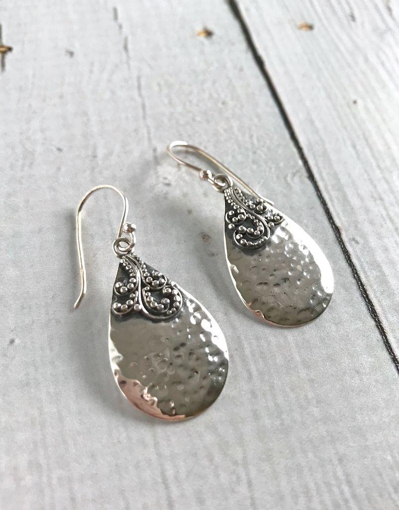 Sterling Silver Hammered Teardrop Fancy Earrings
