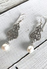 Sterling Silver Ornate Design Earrings with Pearl Drop