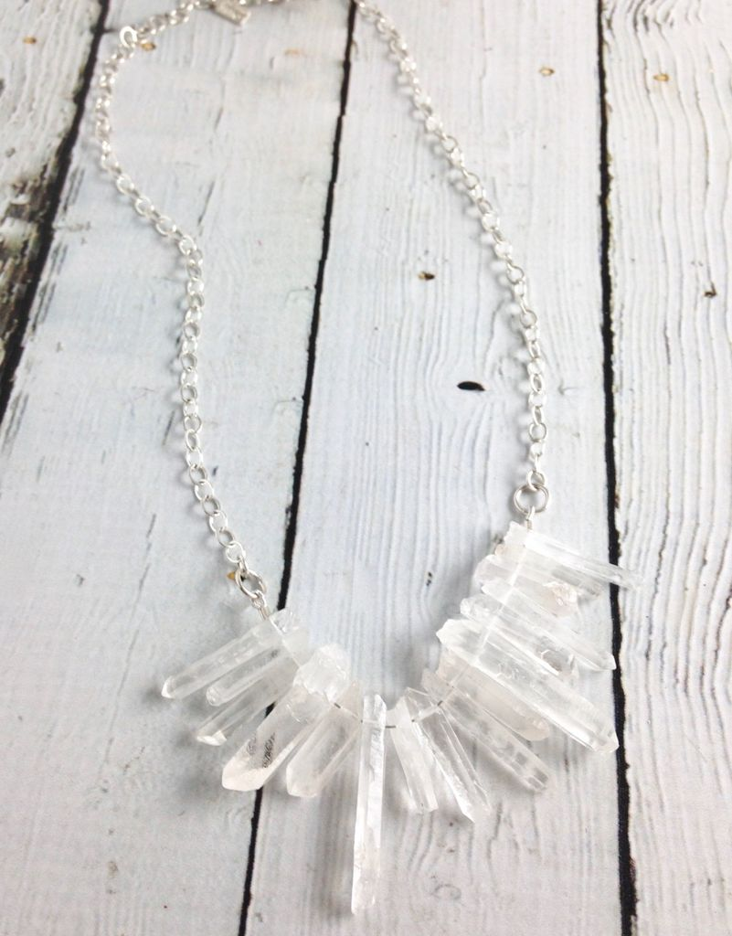 Handmade Silver Raw Crystal Necklace