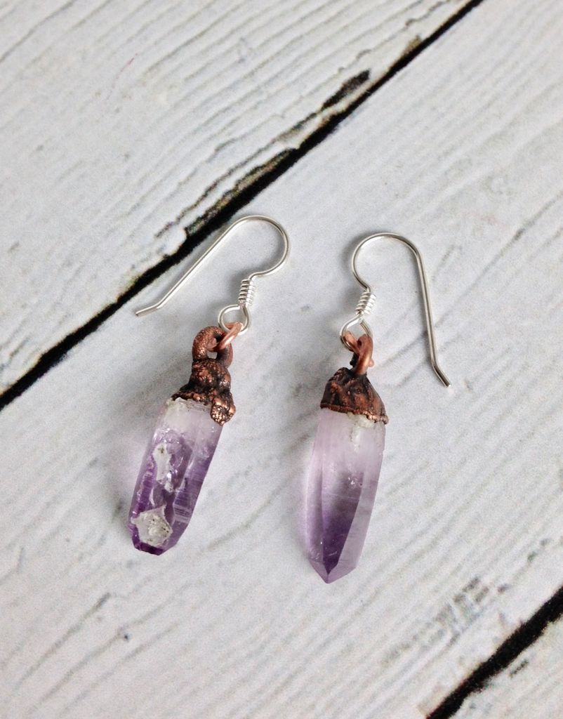 Long Electroformed Vera Cruz Amethyst Crystal and Copper Earrings