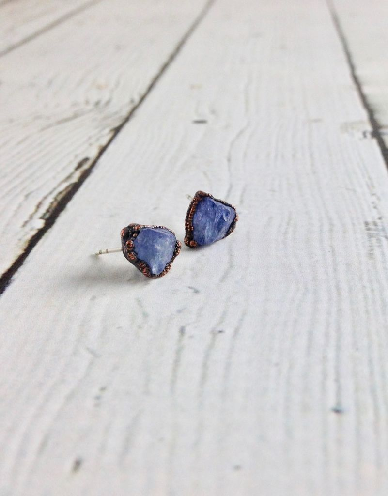 Tanzanite Electroformed Stud Earrings