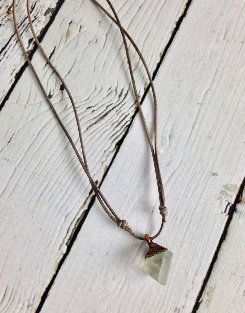 Raw Fluorite on Adjustable Leather Necklace