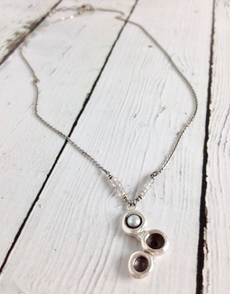 Handmade Heavy Triple Oxidized Sterling Cup Cluster with Silver Grey Pearl on Sterling Chain Necklace
