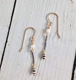 Handmade Oxidized Sterling with 14kt Gold Filled and White Freshwater Pearl Earrings