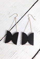 Oppose Wood Earrings by Molly M. Designs - 2 reflected halfmoons of ebony stained birch, gold fill beads,chain, and earwires