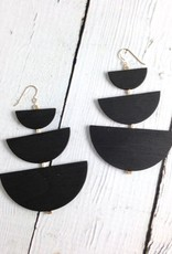 Offset Grande Earrings by Molly M. Designs - ebony stained birch, gold fill beads,chain, and earwires